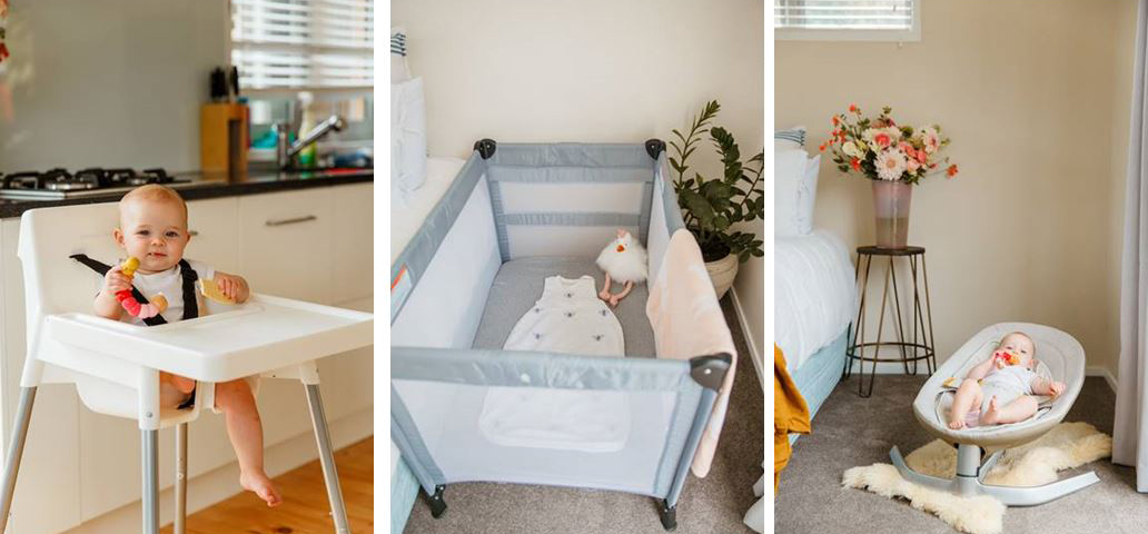 Baby equipment shown for hire
